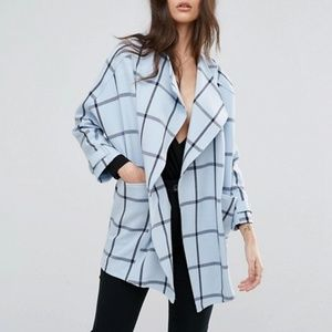 River Island Blue Plaid Oversized Coat